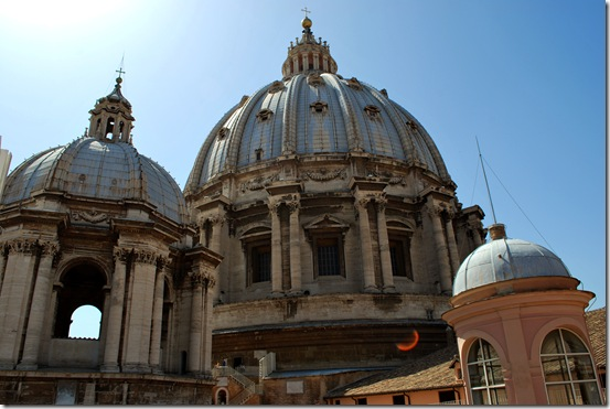 Rooftop view of The dome of St. Peters Basilica