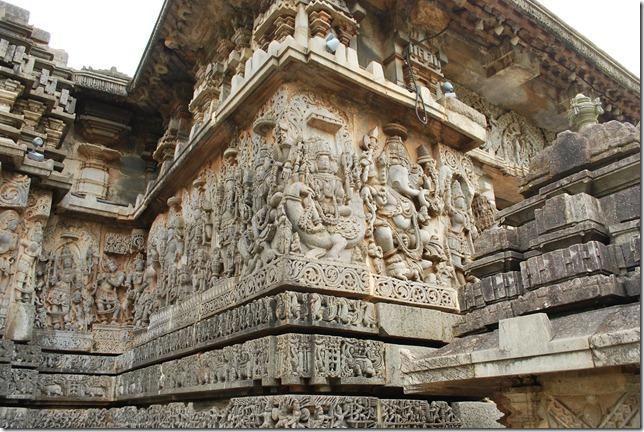 Beautifully detailed exterior of Hoysaleshwar temple, Hallebid.