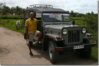 Sunil with the Jeep outside Doddagaddavalli