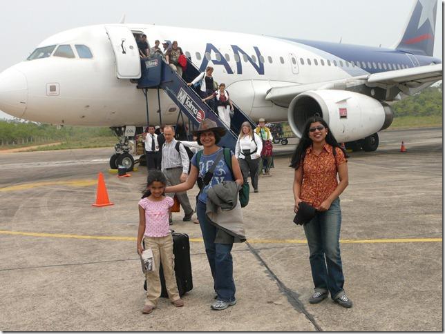 Puerto Mudonado airport in Peru:  Rhea, Preeti and Gayu after touchdownat