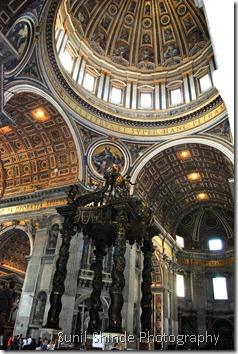 Bernini's Baldachino under Michealangelo's dome