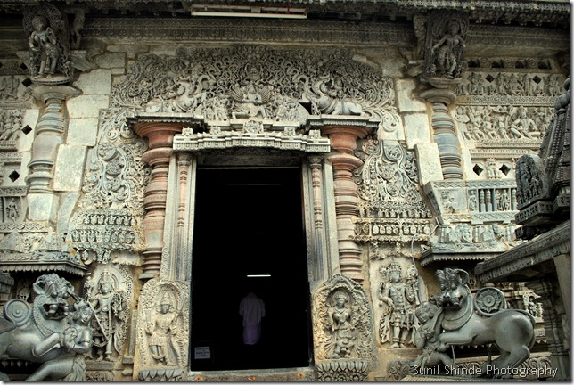 "Beautifully decorated entrance to the Chennakeshava temple flanked on either side by sculpture of ""Sala slaying the lion"""