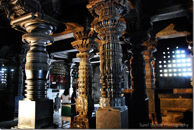48 pillars, each one with a unique design inside the Chennakeshava manthapa