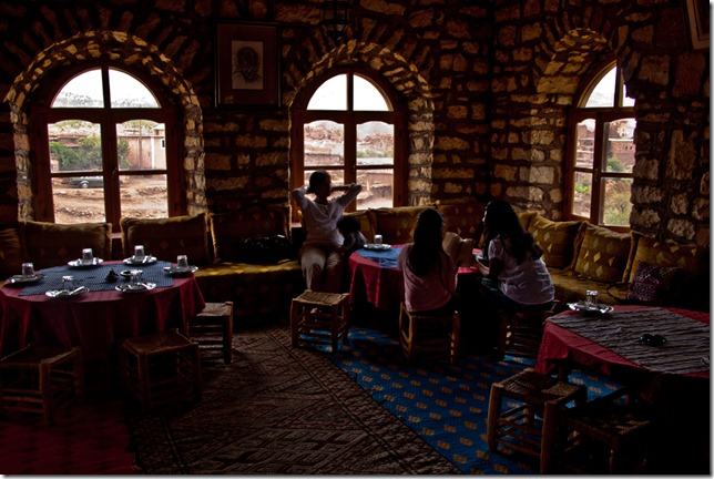 Our luncheon place with a dramatic view of the kasbah (Photo courtesy Vijay Aski)