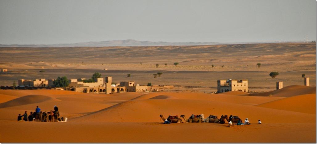 Desert base camp on the sand-line of Sahara
