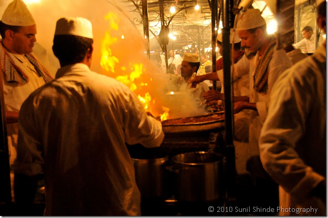 Kebabs being made at Djemma el Fna, as much a  visual treat as culinary