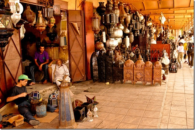 The finely detailed silver lanterns are in much demans at souks in Marrakech