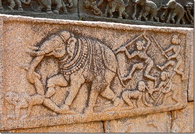 Elephant on a rampage. Mahanamavi Dibba, Hampi