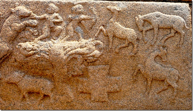 Hunting scene and the Coptic Cross. Mahanamavi Dibba, Hampi
