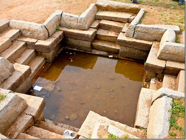 Watering hole in the shape of a Christian cross Hampi