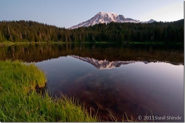Mt. Rainier peeking into Reflection Lake