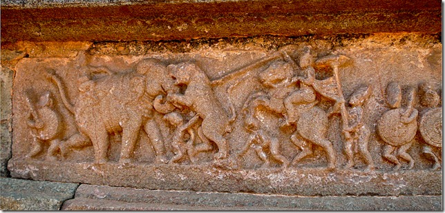 Elephant attacked by a tiger. Mahanamavi DIbba, Hampi