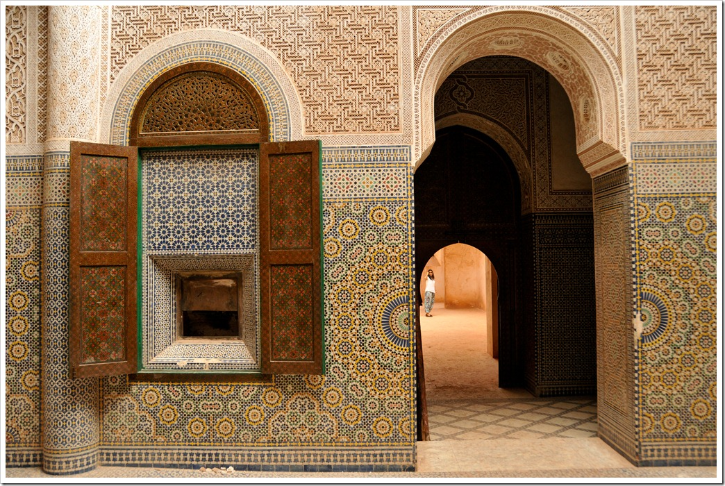 The intricately decorated interiors of the Kasbah of Telhouet, Morocco
