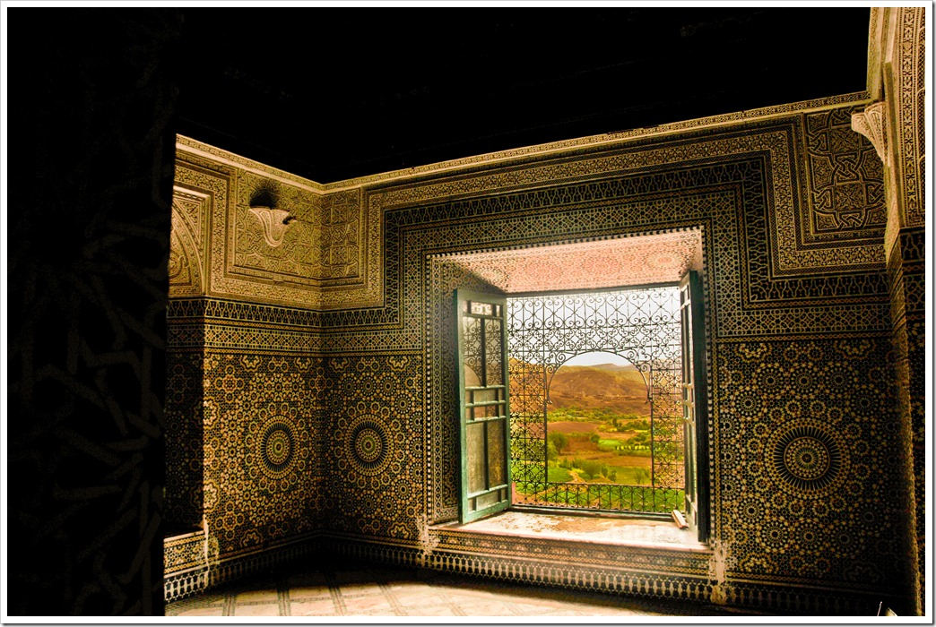 Beautifully decorated ZIllij rich interiors of the Kasbah of Telhouet, Morocco