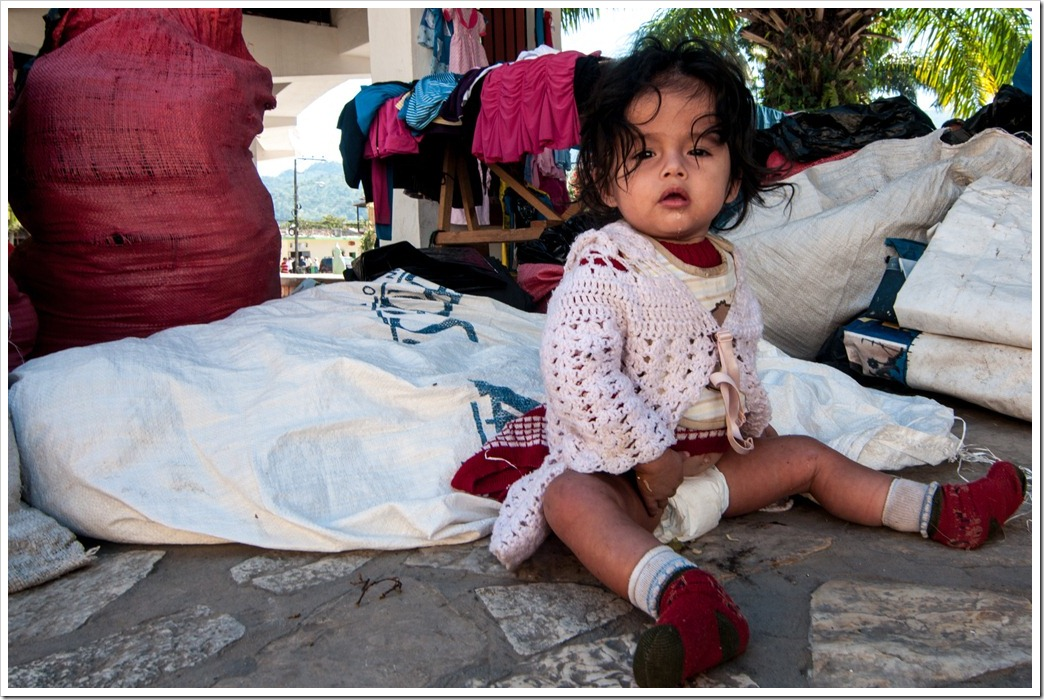 065 Baby in the CHristmas Market, Central square, Copan Ruinas, Honduras