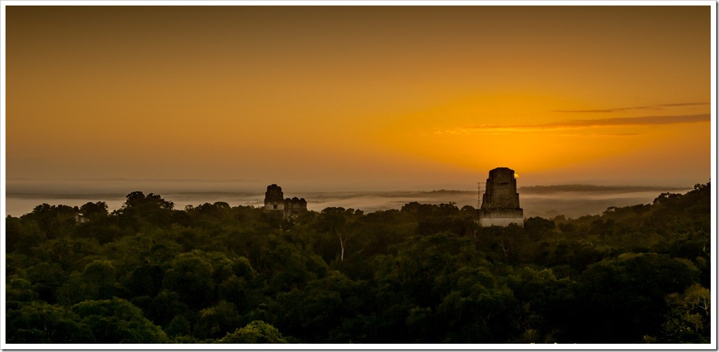 006 Grand Jaguar, Temple II and Temple III at sunrise from top of Temple IV in Tikal National Park, Guatemala - finally (3)