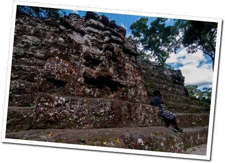 002-1 A Mayan Mask at Uxactun, Guatemala,