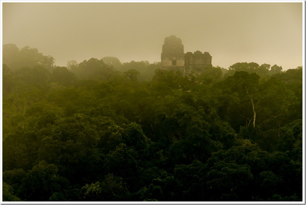 010 Temple III at sunrise from top of Temple IV, Tikal National Park, Guatemala. (2)