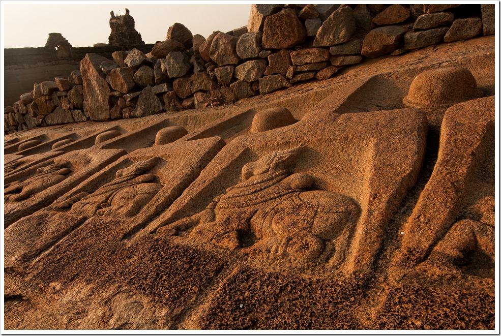Nandi carvings on Malyavanta Hill behind Raghunath temple