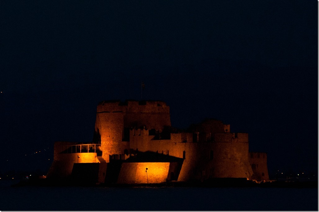 The Byzantine Fortress of Bourtzi, now a restaurant. Naphlion, Greece