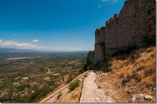 The imposing fortification of the castle of Mystras @Sparta, Greece