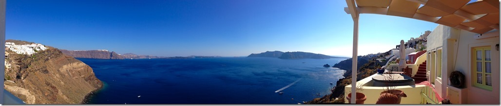 A panoramic view of the Caldera in Oia @ Santorini, Greece