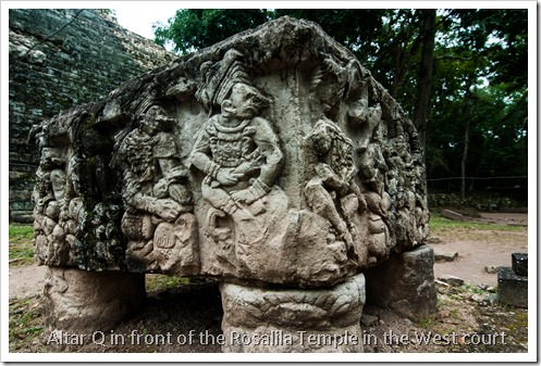 Copan, Honduras - Altar Q in front of Rosalila Temple (Structure 16), West Court