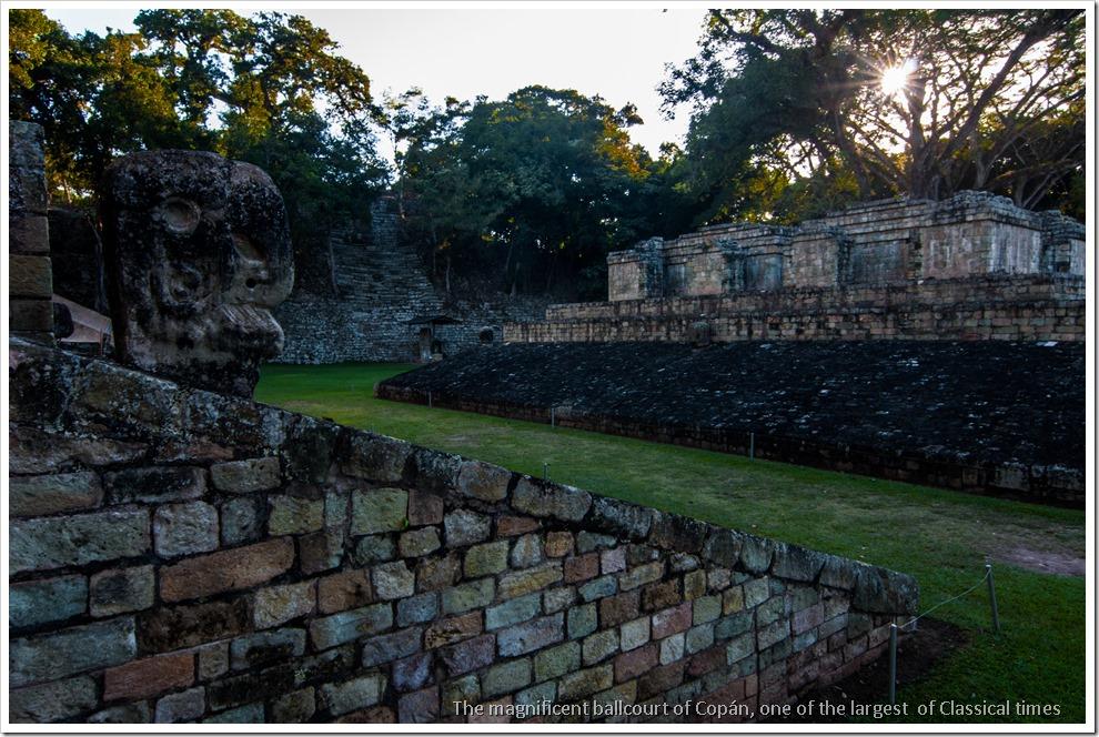 Copan, Honduras - Ballcourt with the macaw markers