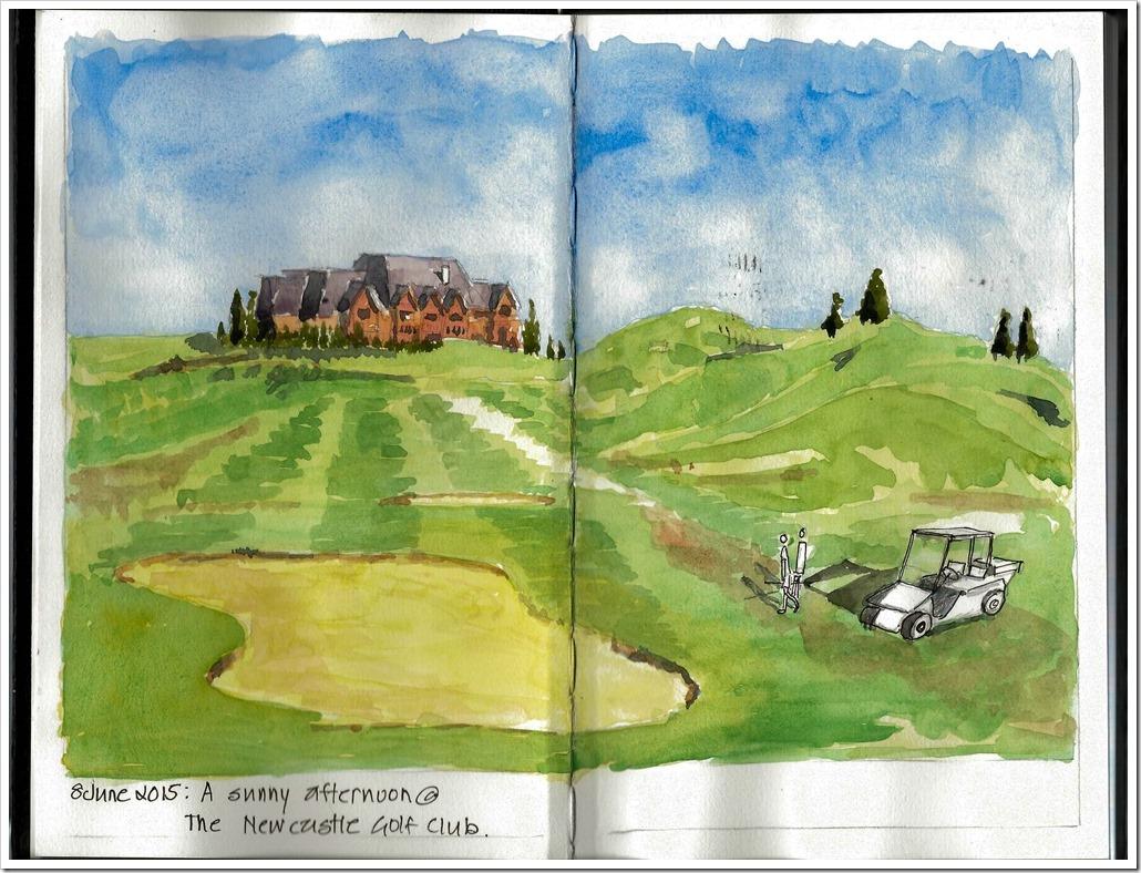 20150609 - New Castle Golf Course Watercolor sketch