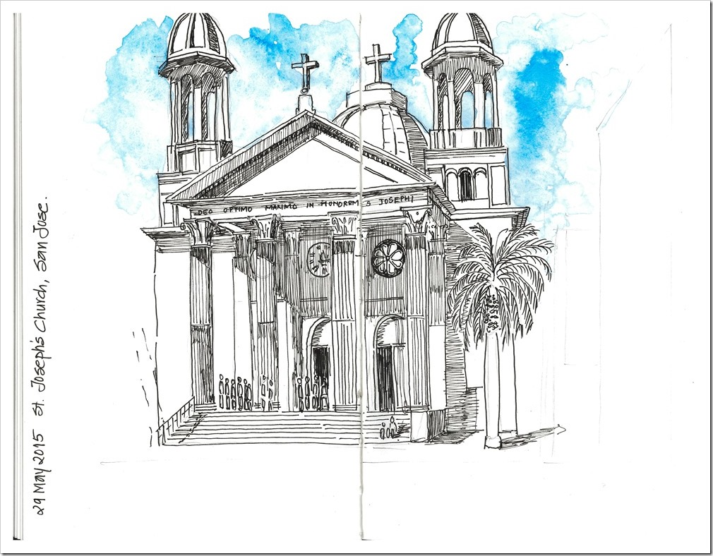 Watercolor Sketch of St Joseph Church, San Jose, CA
