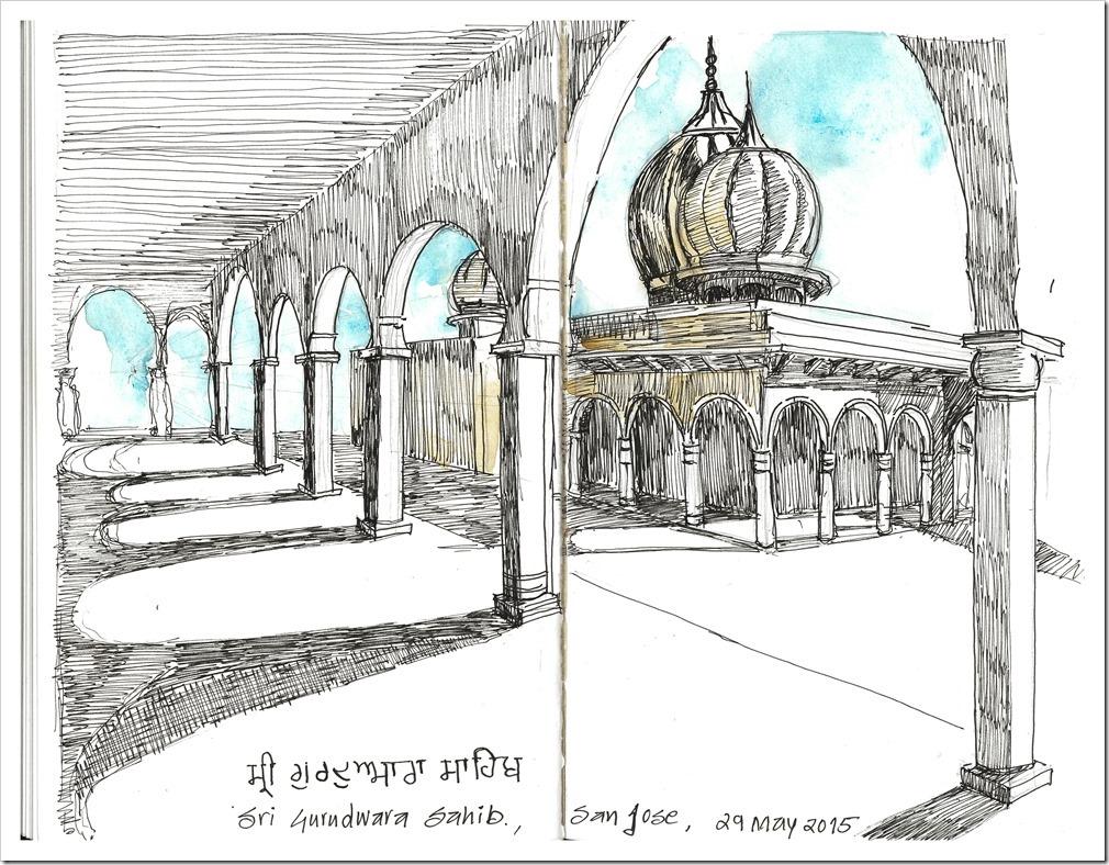 Water color sketch of Sri Gurudwara Sahib, San Jose, CA